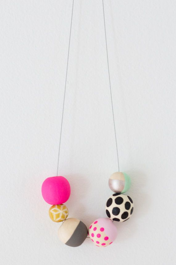No. 8 | Hand Painted Wooden Bead Necklace by jenloveskev on Etsy