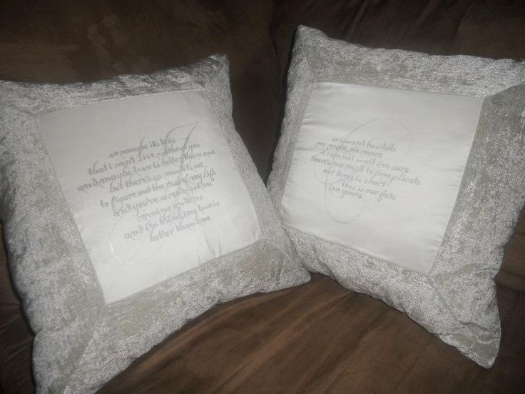 A matching pair Wedding pillows with quotes chosen for bride and groom by each other