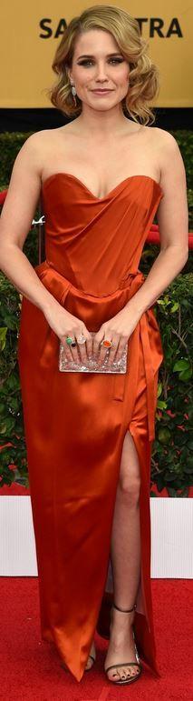 SAG Awards 2015  Sophia Bush: Dress – Vivienne Westwood  Jewelry – Irene Neuwirth  Shoes – Stuart Weitzman  Purse – Edie Parker