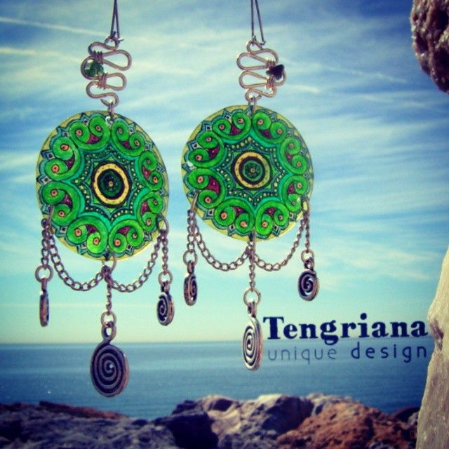 Green-eyed unique miniature dreamcatcher mandala earrings with silver wirework and green jasper | sold | available in purple shades @tengriana #tengriana #uniquejewelry #uniquedesign #earrings #dreamcatcher #mandala #jasper #silver #green #meditation #colorful #charming #magic #hippie #boho #chic #bohemian #elegant #handcrafted #spiral #design #jewellery #fashion #accessories #alternative #magicjewelry #witchy #peace #love #healing