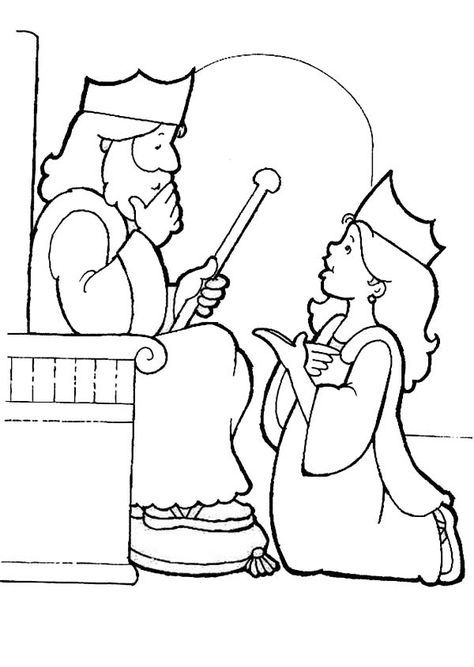 King Choose Esther To Be His Queen Esther Coloring Page Bible