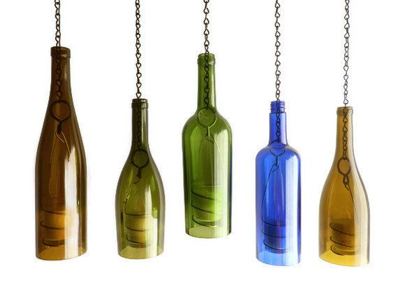 Green Glass Wine Bottle Candle Holder Hanging by BoMoLuTra on Etsy, $20.00