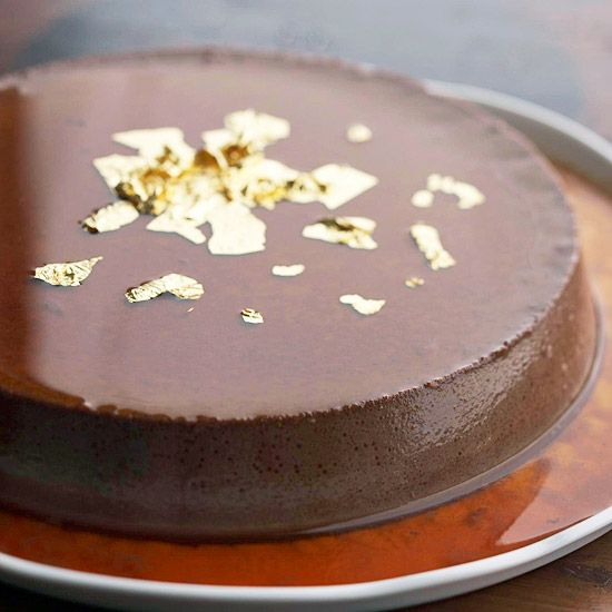 Gold edible leaves brighten up this decadent Dark Chocolate Flan: http://www.bhg.com/recipes/ethnic-food/mexican/14-amazing-mexican-desserts/?socsrc=bhgpin091213darkchocolateflan#page=12