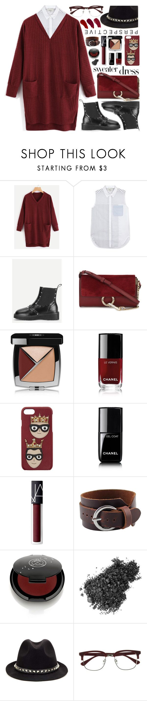 """""""Sweater Dress"""" by meyli-meyli ❤ liked on Polyvore featuring 3.1 Phillip Lim, Chloé, Chanel, Dolce&Gabbana, NARS Cosmetics, Rituel de Fille, Valentino, EyeBuyDirect.com, Ellis Faas and sweaterdresses"""