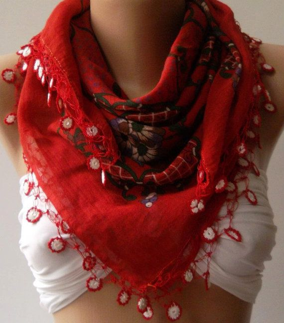 Turkish Shawl  Anatolians Scarf  with Lace Yemeni   Red  by womann, $19.90