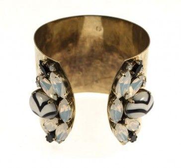 Handmade bronze metal plated bracelet with Swarovski strasses and glass stones, by Art Wear Dimitriadis
