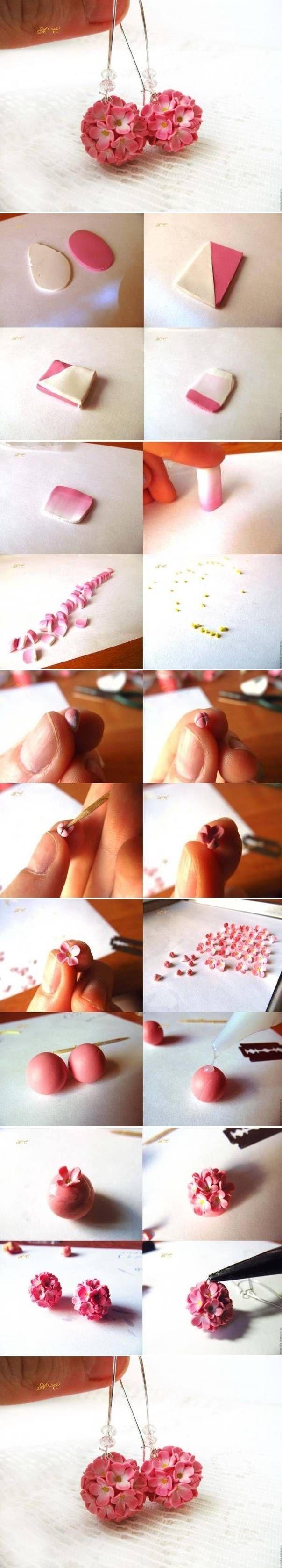 DIY Delicate Flower Ball Earrings