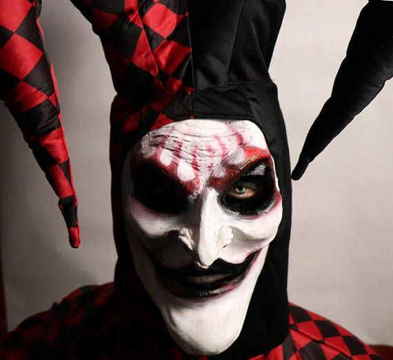 Scary Jester Mask Prosthetic Jester Costume Facial Prosthetic Special FX  VISIT MY WEBSITE www.JaneDoeFX.com for deals ! Jack is BRAND NEW for 2017 !!!! I have limited quantities available at the moment. Item Name: JACK the Jester  Special FX Facial Prosthetic.Handmade & Prepainted by Airbrush  Works For: Adult Faces. This facial prosthetic is bigger than my other ones. Can be cut down a bit but definitely will not fit a child or a petite woman.  Included: One Facial Prosthetic. (one piec...