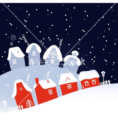 Winter christmas snowing night village vector