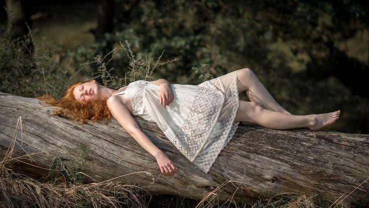 Paulina  redhead girl nature wood sunset sunshine