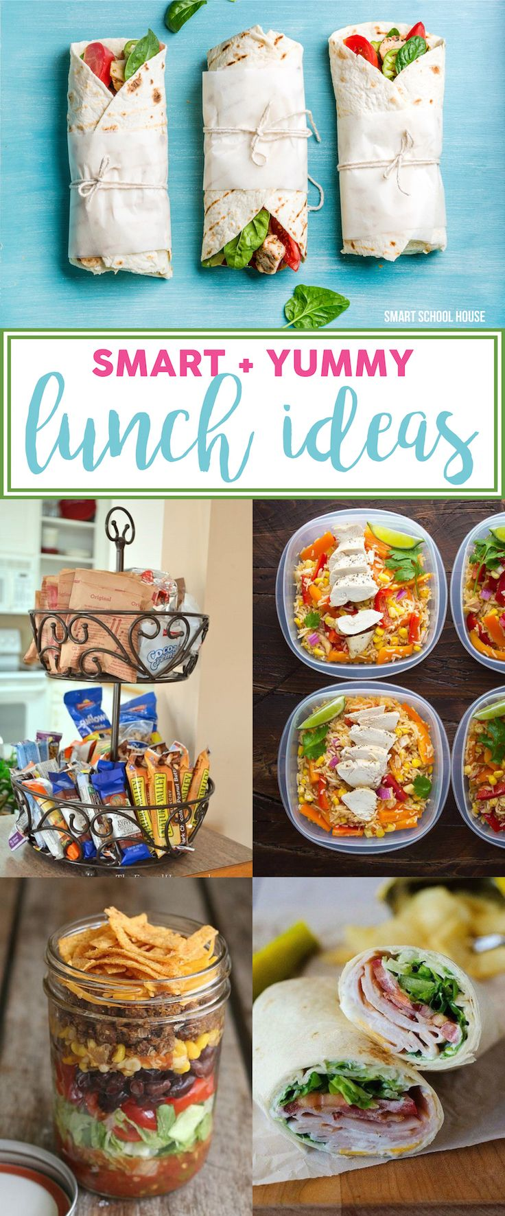 Smart and Yummy lunch ideas - recipes for yourself, a carful of kids, or even if you stay home and have a toddler to feed, new ideas are always neat to see!