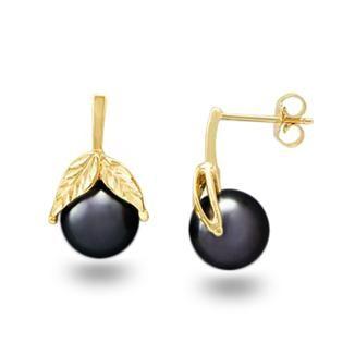 Tahitian Black Pearl Earrings in 14K Yellow Gold (9-10mm)