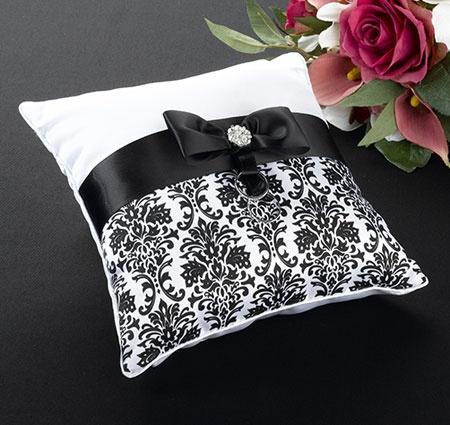 Black Damask Ring Bearer Pillow