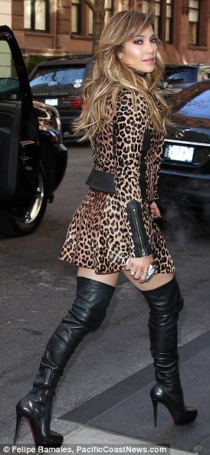 Jennifer Lopez promoting her new movie Parker in a flirty animal-print skirt and matching jacket with thigh high stiletto boots #heels #legs