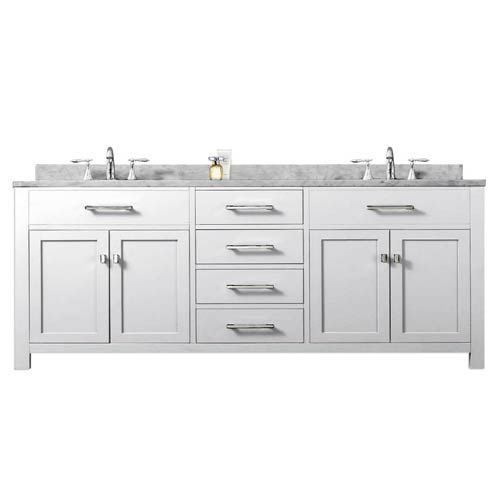 Madison Pure White 72 Inch Double Sink Bathroom Vanity Water Creation Vanities
