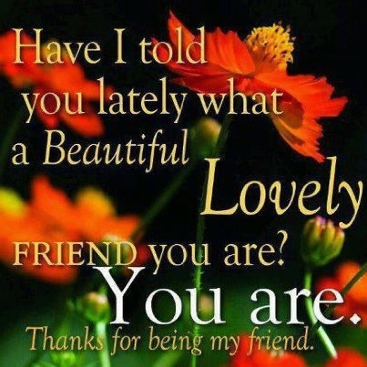 Thanks To Lover Quotes: HAVE I TOLD YOU LATELY WHAT A BEAUTIFUL AND LOVELY FRIEND