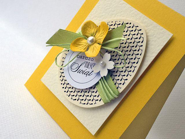 handmade Easter card ... elegant look ... egg with laser printed desgn ...