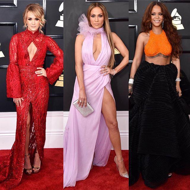 Чей образ на 59-й ежегодной церемонии Grammy Awards 2017 вам нравится больше? 1) Carrie Underwood @carrieunderwood в Elie Madi и Randall Scott Fine Jewelry ; 2) Jennifer Lopez @jlo в Ralph & Russo @ralphandrusso ; 3) Rihanna @badgalriri в Armani Privé @armani и Chopard jewelry @chopard . Голосуем! #VS  via INSTYLE RUSSIA MAGAZINE OFFICIAL INSTAGRAM - Fashion Campaigns  Haute Couture  Advertising  Editorial Photography  Magazine Cover Designs  Supermodels  Runway Models