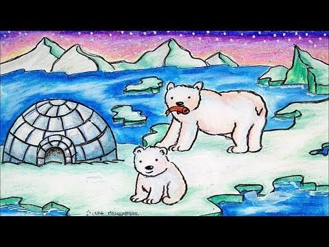 Cara Menggambar Beruang Kutub Pemandangan Kutub Utara Youtube
