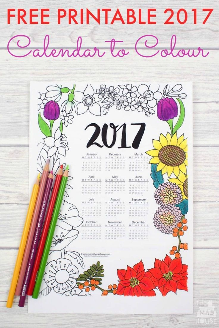 Get your own Free printable 2017 Floral Colouring Calendar.  Celebrate the new year with this exclusive free adult colouring printable.