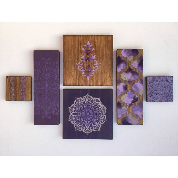 Moroccan Wall Art . Collage Of Wooden Tiles Painted In Shades Of Lilac...  ($66) ❤ Liked On Polyvore Featuring Home, Home Decor, Wall Art, Wooden Wall  Art, ...