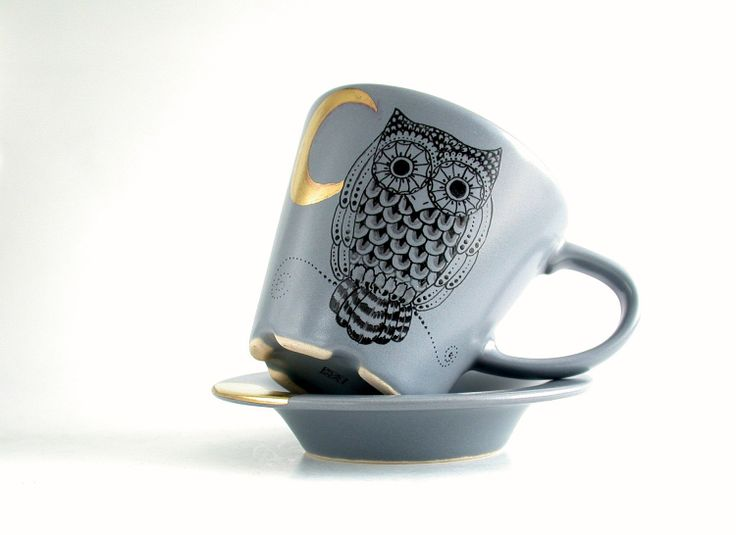 grey coffee cup and saucer with owl and golden crescent, hand painted. €28.00, via Etsy.