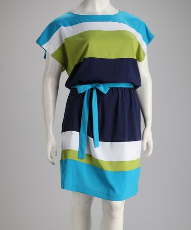 Take a look at this Jemma Blue & Lime Stripe Plus-Size Dress by Jemma Apparel on #zulily today!