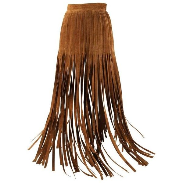 Preowned Hermes 1970s Brown Calf Skin Suede Leather Mini Long Maxi... ($3,294) ❤ liked on Polyvore featuring skirts, brown, suede mini skirt, vintage skirts, fringe maxi skirt, brown mini skirt and long suede skirt