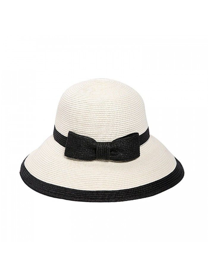 ce322008209da4 Womens Straw Sun Hat UPF50+ Wide Brim Floppy Hat Summer Beach Cap ...