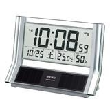 SEIKO/セイコークロック 温湿度計付き 電波置時計 ソーラーデジタル