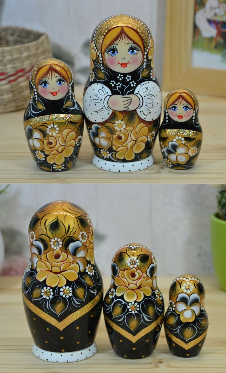 3 piece matryoshka doll in black, white and gold design. The price is 19.80$ You can purchase the same dolls at: www.bestrussiandolls.etsy.com