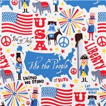 Tissu Timeless Treasures blanc United We Stand 4th of July,drapeau américain