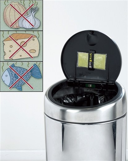Great idea! Tape a fragrance sachet to the inside lid of trash can.