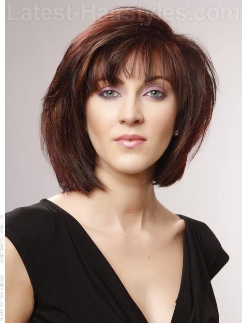 Layered Brunette Bob with Red Highlights