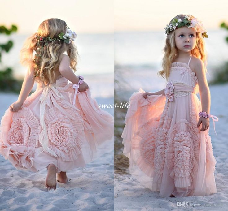 Pink Ball Gown Flower Girl Dresses Spaghetti Ruffles Handmade Flowers Lace Tutu 2016 Vintage Little Baby Gowns for Communion Boho Wedding Online with $91.23/Piece on Sweet-life's Store | DHgate.com