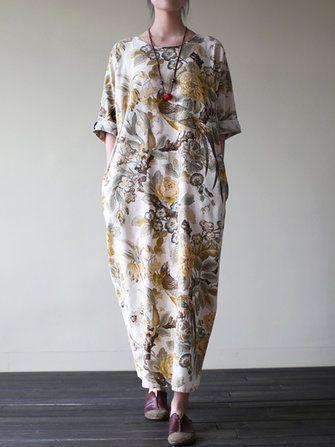 Only US$24.79 , shop Vintage Women Floral Printed Loose Maxi Dresses at Banggood.com. Buy fashion Vintage Dresses online.