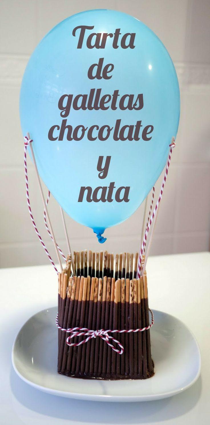 tarta globo aerostático de galletas, chocolate y nata