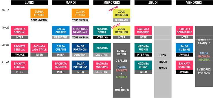 Planning des cours 2017/2018 Dime Que Si - Ecole de bachata, salsa et kizomba à Lyon