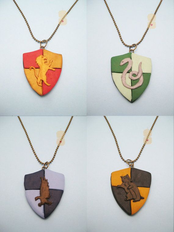 Harry Potter Hogwarts House polymer clay pendant necklace by RoboticCookie, £8.00