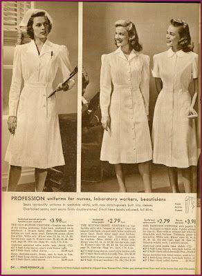 1942 Sears catalog, uniforms for nurses, beauticians