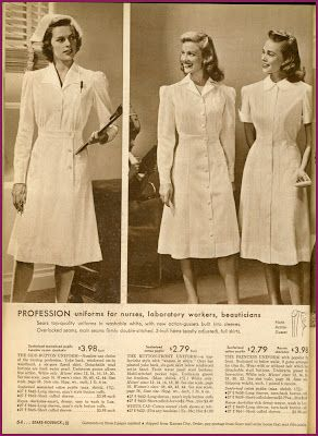 1942 Sears catalog, uniforms for nurses, beauticians