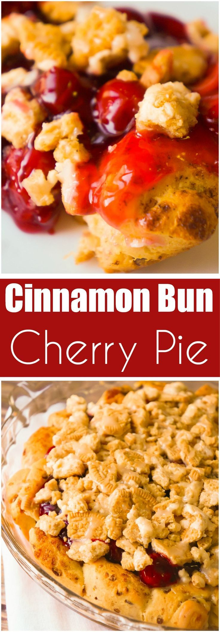 Cinnamon Bun Cherry Pie is an easy pie recipe using Pillsbury Cinnamon Rolls and canned cherry pie filling. This cherry pie is topped with crumbled Cinnamon Bun Oreos.