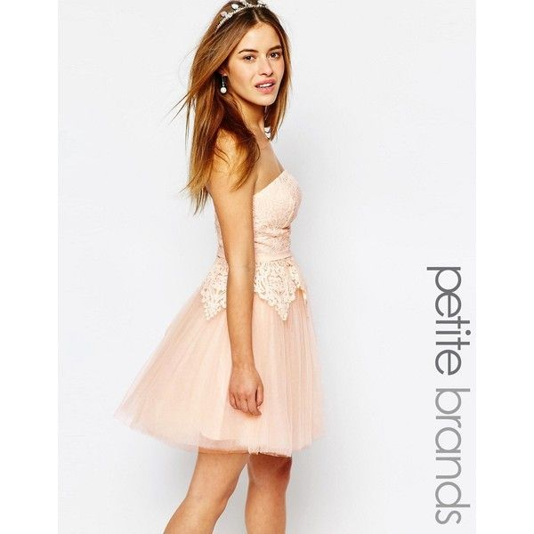 Chi Chi London Petite Lace Bodice Bandeau Prom Dress ($60) ❤ liked on Polyvore featuring dresses, petite, softpink, petite lace dress, pink dress, lace prom dresses, white lace cocktail dress and pink prom dresses