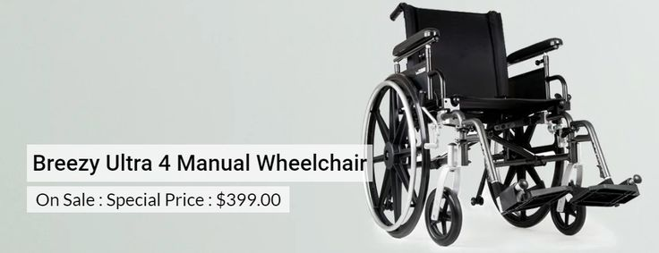 Breezy Ultra 4 Manual Wheelchair | Lightweight aluminum frame | Adjustable components | High-strength, portable | One of the lightest folding wheelchairs in its class | Quick-release wheels for easy transport | At special price of $399.00 |
