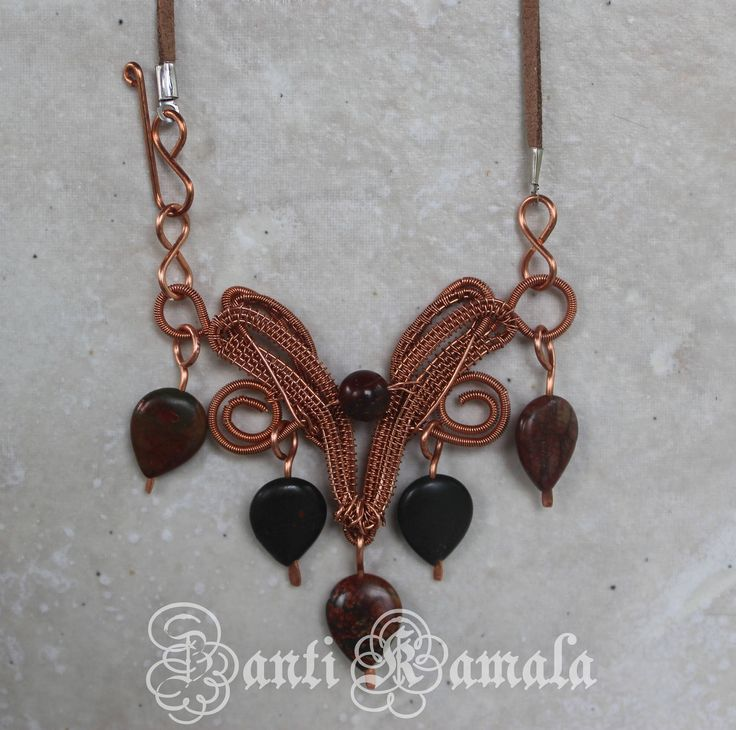 Elven design Cherry creek jasper necklace/elven jewelry/elf jewelry/statement piece/statement necklace/fantasy jewelry/copper jewelry by ZantiKamala on Etsy