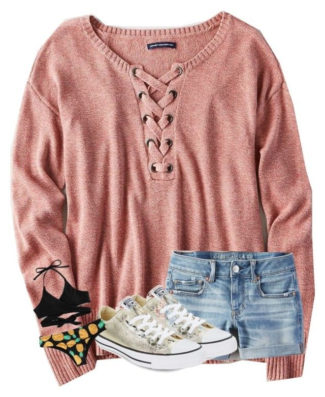 """""""Untitled #4642"""" by laurenatria11 ❤ liked on Polyvore featuring American Eagle Outfitters and Converse"""