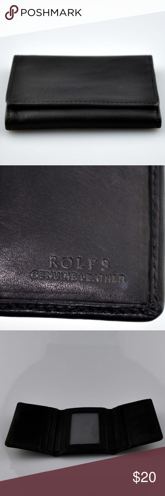 Men's Rolf Genuine Leather Black Tri-Fold Wallet Wallet is in excellent pre-owned condition  Room for ID and 6 Credit card slots  Smoke Free Pet friendly home Rolfs Bags Wallets