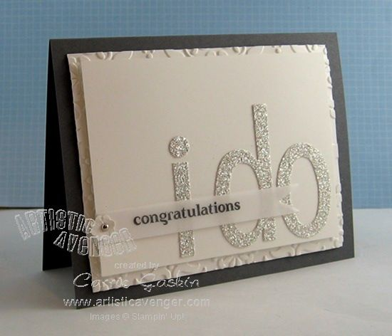 Glimmer Paper and dies.  Cute/simple wedding card.