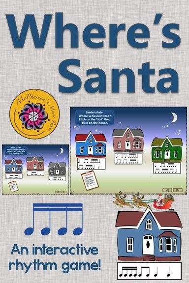 Where's Santa? Keep your elementary music students engaged with this interactive rhythm game (sixteenth notes) around Christmas and the holidays! Excellent music education resource!
