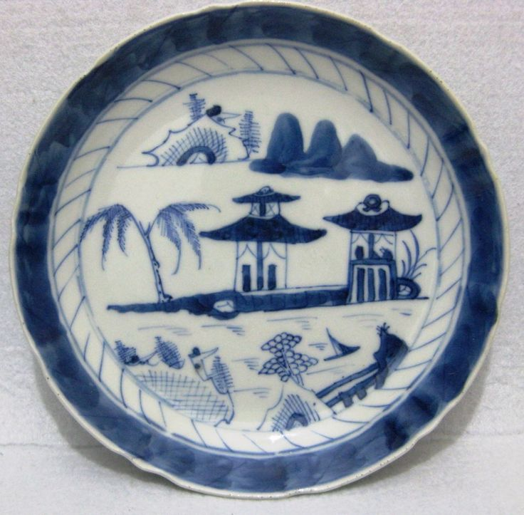 ANTIQUE CHINA CHINESE  BLUE & WHITE PORCELAIN CANTON PLATE